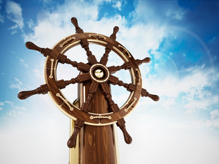 Ship wheel against blue, cloudy background. 3D illustration