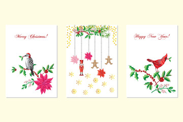 Christmas Poster Set with Bird and Poinsettia
