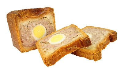 Autocollant pour porte Buffet, Bar Traditional English savoury gala egg pork pie with crusty hot water pastry isolated on a white background