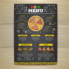 Vintage chalk drawing fast food menu design. Pizza sketch corporate identity