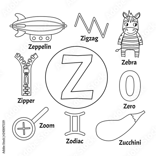 Vector Cute Kids Animal Alphabet Letter Z Set Of Cute Cartoon