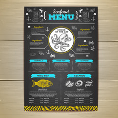 Vintage chalk drawing seafood menu design.