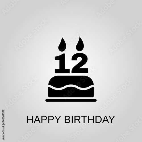 The Birthday Cake With Candles In Form Of Number 12 Icon Happy Concept Symbol Design Stock