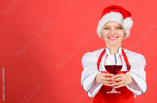 No Stress Woman Chef Cooking Wear Santa Hat Drink Wine Best