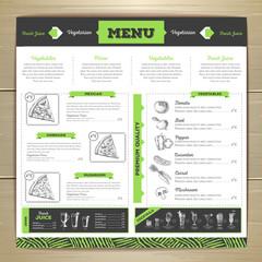 Vintage chalk drawing vegetarian food menu design.