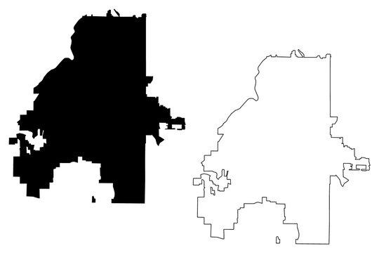 Atlanta City (United States cities, United States of America, usa city) map vector illustration, scribble sketch City of Atlanta map