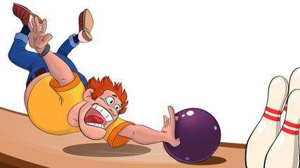 illustration of a man throwing a bowling ball on the playing field, a man playing bowling and falling behind a bowling ball on a white background