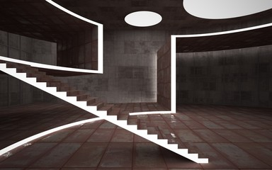 Abstract  concrete and rusty metal interior multilevel public space with neon lighting. 3D illustration and rendering.