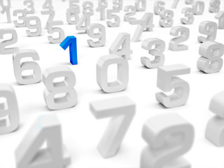 3D Illustration - 3D numbers on white background - focus on blue number one