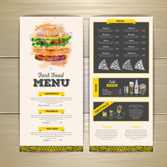 Vintage chalk drawing fast food menu design. Sandwich sketch corporate identity