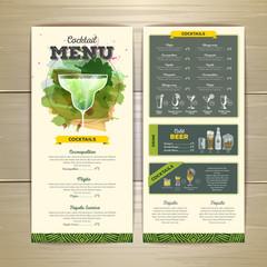 Watercolor cocktail menu design. Corporate identity
