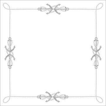 The square isolated frame from a rope, a cord with anchors. Vector illustration isolated? free for text.