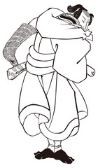 昔ばなしの戯猫又年とへて古寺に怪をなす図 武士 白黒