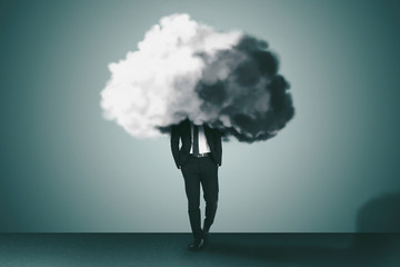 Business man with cloud and brain concepts