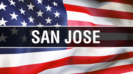 San Jose city on a USA flag background, 3D rendering. United states of America flag waving in the wind. Proud American Flag Waving, US San Jose city concept. US American symbol and San Jose background