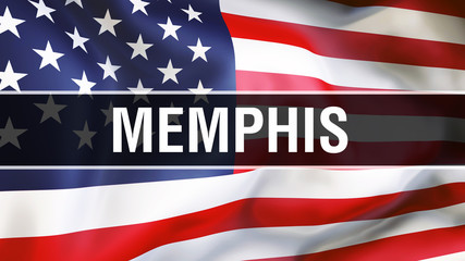 Memphis city on a USA flag background, 3D rendering. United states of America flag waving in the wind. Proud American Flag Waving, US Memphis city concept. US American symbol and Memphis background