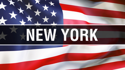 New York city on a USA flag background, 3D rendering. United states of America flag waving in the wind. Proud American Flag Waving, US New York city concept. US American symbol and New York background