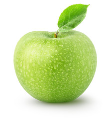 Isolated wet apple. Whole green apple fruit isolated on white background with clipping path