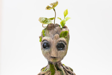 Groot doll from wood, moss and live plants in a pot