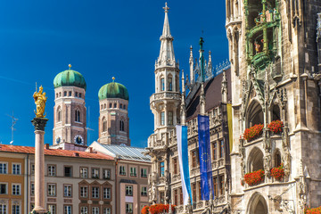 Marienplatz with Cathedral Frauenkirche in Munich, Germany Wall mural
