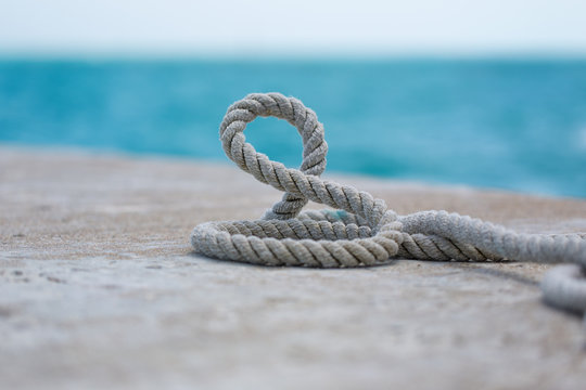 Seaman's rope. Wrapped on the ground.