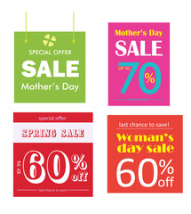 Set of sale banner collection. Special offer banner.  Woman's day and spring sale. Vector illustration