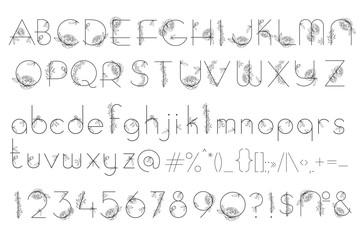 Alphabet with flowers peony blossom