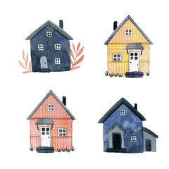 house set watercolor