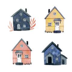 house set watercolor