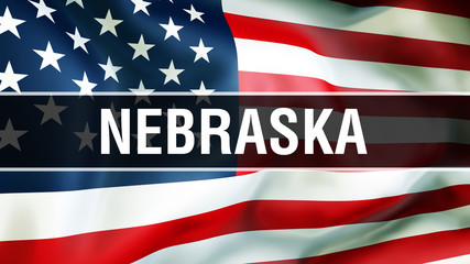 Nebraska state on a USA flag background, 3D . United States of America flag waving in the wind. Proud American Flag Waving, US Nebraska state concept. US symbol and American Nebraska background