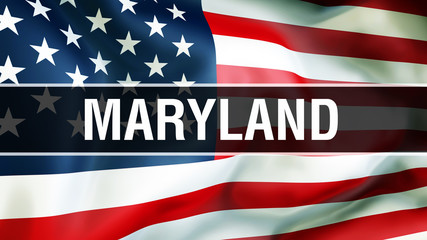 Maryland state on a USA flag background, 3D . United States of America flag waving in the wind. Proud American Flag Waving, US Maryland state concept. US symbol and American Maryland background