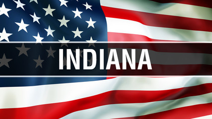 Indiana state on a USA flag background, 3D rendering. United States of America flag waving in the wind. Proud American Flag Waving, US Indiana state concept. US symbol and American Indiana background