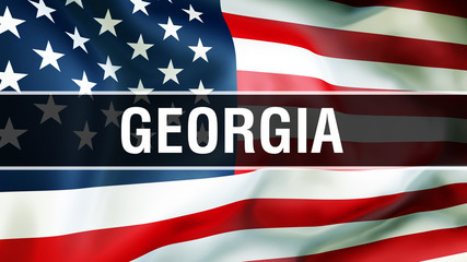 Georgia state on a USA flag background, 3D rendering. United States of America flag waving in the wind. Proud American Flag Waving, US Georgia state concept. US symbol and American Georgia background