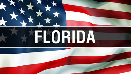Florida state on a USA flag background, 3D rendering. United States of America flag waving in the wind. Proud American Flag Waving, US Florida state concept. US symbol and American Florida background