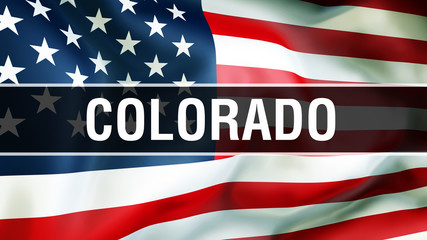 Colorado state on a USA flag background, 3D . United States of America flag waving in the wind. Proud American Flag Waving, US Colorado state concept. US symbol and American Colorado background