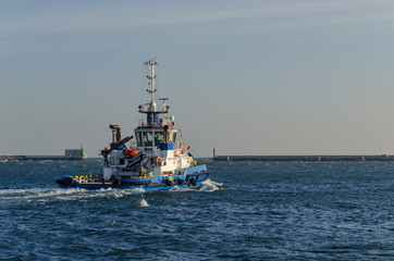 TUG BOAT - Ship is sailing out to the sea