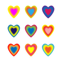 Set of colourful blended hearts. Vector illustration.