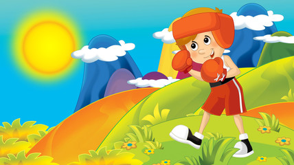 cartoon summer or spring nature background in the mountains - with kid training in nature  illustration for children