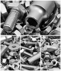 Bolts and nuts. Construction hardware background.