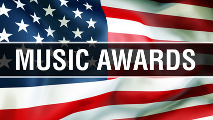 music awards on a USA flag background, 3D rendering. United States of America flag waving in the wind. Proud American Flag Waving, American music awards concept. US symbol with American music s