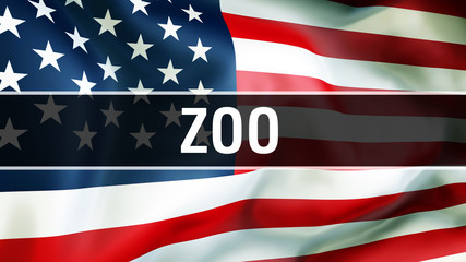 zoo on a USA flag background, 3D rendering. United States of America flag waving in the wind. Proud American Flag Waving, American zoo concept. US symbol with American zoo sign background