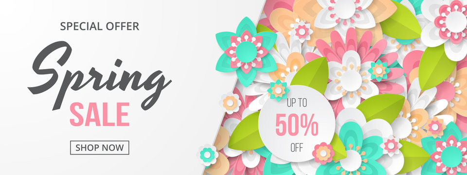 Spring sale banner with beautiful colorful flower. Can be used for template, banners, wallpaper, flyers, invitation, posters, brochure, voucher discount. Vector illustration