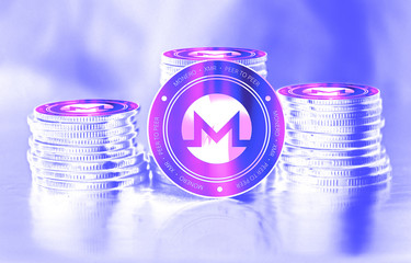 Monero (XMR) digital crypto currency. Stack of coins. Cyber money.