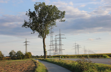 Electricity pylons in landscape with foot path and street in between.
