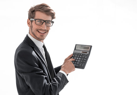 man is pointing at a calculator