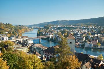 Switzerland, Canton of Schaffhausen, Schaffhausen, View of old town and Rhine river