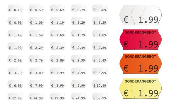 selbstklebende Vektor Preisetiketten für den Supermarkt mit Sonderangebot