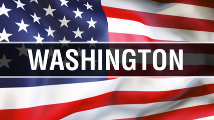 Washington city on a USA flag background, 3D