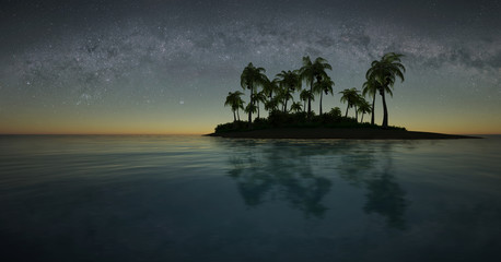 Tropical island at night Wall mural