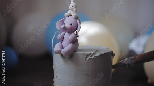 Celebrating First Birthday With Gourmet Cake Knife Cuts Off A Piece Stock Footage And Royalty Free Videos On Fotolia